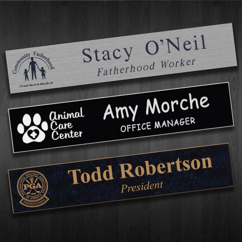 788 x 2 Name Plate Engraved Black
